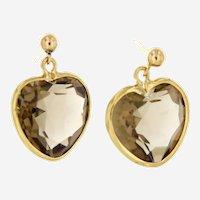 Estate 14 kt Gold Smoky Quartz Heart Shaped Earrings