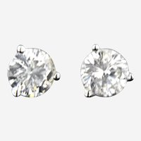 1 ctw Diamond Brilliant Cut Stud Earring in 14 kt White Gold