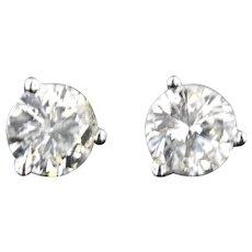 1 ctw Diamond Brilliant Cut Stud Earring in 14 kt White Gold