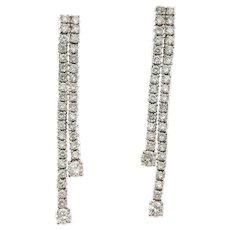 "2.10 ct Diamonds Double Row Dangling Drop Earring in 14kt White Gold, 1.25"" Long"