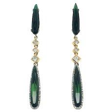 Tourmaline & Diamonds 14k Gold Long Drop Earring