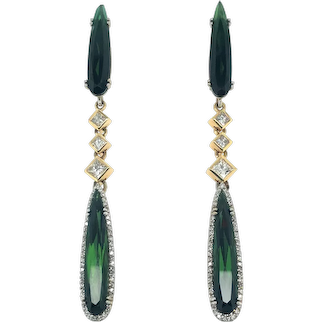 Tourmaline & Diamonds 14k Gold Long Drop Earring