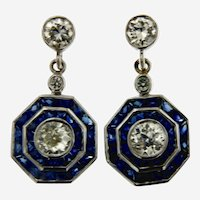 Antique Style European cut Diamonds & French Cut Sapphires Dangling Earring in 18kt Gold