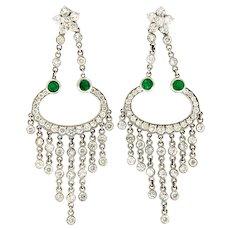 """ Gypsy "" 4.85 ctw Diamond & Emerald Pair of Dangling Earrings"