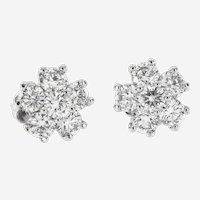 2.25 ct Diamonds Floral Stud Earrings in 14kt White Gold