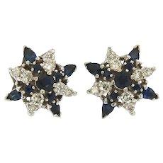 Vintage 18 kt Sapphire & Diamonds Stud Earrings