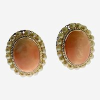 Vintage 14 kt Gold Coral and Pearl Earrings, Circa Mid Century