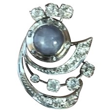 Antique Platinum 6.20 ct Star Sapphire and 2.75 ct European Cut Diamonds Earrings, Edwardian Period.