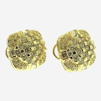 Vintage 5 ct Diamonds 18kt Yellow Gold Earrings, Circa 1970