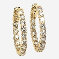 3 ct Diamond Eternity Hoop Earrings, 14kt Yellow Gold