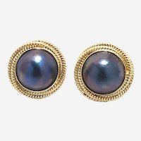 14 kt Gold Mabe Pearl Button Earring.