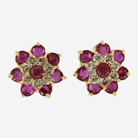 Lovely Ruby & Diamond Cluster Stud Earring, 14kt Yellow Gold