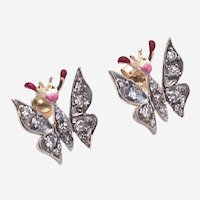 Lovely 14kt Gold Diamond Enamel butterfly stud earring