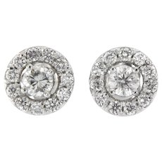 1.70 Ct tw Diamond Halo Earring, 14 kt White Gold