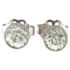 Art Deco 1.55 ctw European Cut Diamonds Platinum Stud Earring, 18kt Push backs