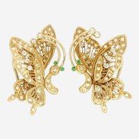Vintage Frank J Golden 14kt Yellow Gold Diamond En Tremblant Butterfly Earrings