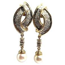 14kt Gold Dangling Diamond Pearl Earring