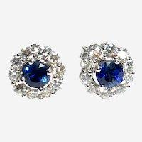 Sapphire Diamond 14kt Gold Flower Cluster Stud Earring