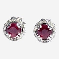 Ruby in Diamond Halo 14kt Gold Cluster Stud Earring