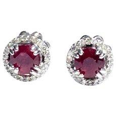 Ruby in Diamond Halo 14kt Gold Cluster Stud Earring