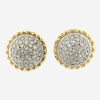 Vintage 2.75 ct Diamond 14kt Gold Convertible Button Earring, Circa 1960
