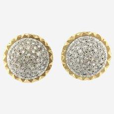 Vintage 2.75 ct Diamond 14kt Gold Convertible Button Earring, Circa 1960