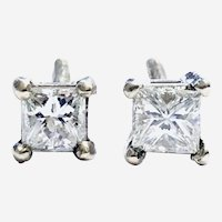 Princess Cut 0.65 ct Diamonds Stud Earring, 14kt White Gold