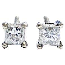 Princess Cut 0.65 ct Diamonds Stud Earring, 14kt White Gold