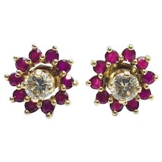 Estate 14kt Gold Diamond Stud Earring in Ruby Jacket