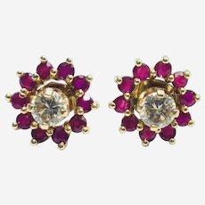 Estate 14kt Gold Diamond Stud Earring in Ruby Jacket