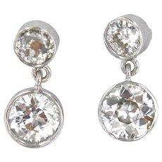 Platinum 1.50 ct European Cut Diamonds Dangling Earring