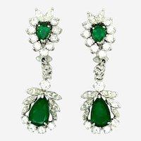 9.25 ct Platinum Emerald & Diamond Earrings