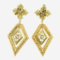 Large Geometric 14kt Gold & Diamond Mid Century Earring, Circa 1960