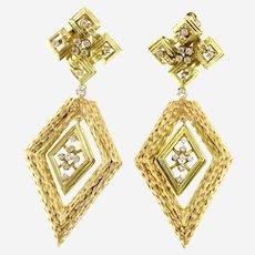 Large Geometric 14kt Gold & Diamond Mid Century Earring, Circa 1960