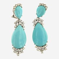 1960's Turquoise and Diamond Dangling Pair of Earring