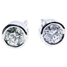 Platinum 0.50 ct Diamond Bezel Set Stud Earrings, Top Quality.