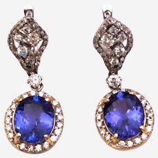 Vintage 6 ct Diamond & Tanzanite Dangling Earring