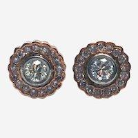 Platinum 18kt Gold 1 ct Diamond Stud Earring
