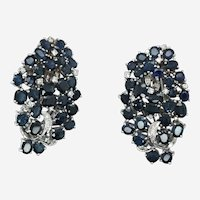 Vintage 14k Gold Sapphire Diamond Cluster Earring