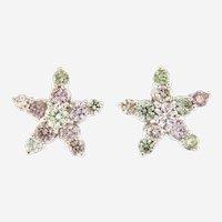 Natural Pink, Green & White Diamonds Star Earrings, G.I.A Cert. 18kt Gold