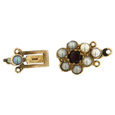Antique 9 ct Gold Victorian Pearl and Garnet Lock Closure