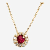 Ruby 0.80ct and Diamonds Pendant 14kt