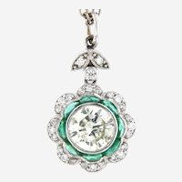 3.10 ctw Diamond Solitaire Vintage Style Pendant on Diamond By The Yard Necklace, 18kt White Gold