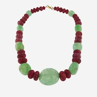 Vintage 18 kt Gold 1210 ct Ruby and Emerald Bead Necklace, circa 1970