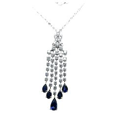 Contemporary 9 ct Diamond & Sapphire 18kt White Gold Waterfall Diamond by the Yard Necklace