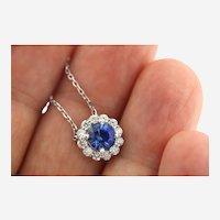 1.85 ct Diamond and Tanzanite Pendant on Diamond By the Yard Necklace, 14k Gold