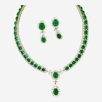 Vintage 125 ct Emeralds and Diamonds Necklace & Earring Set, Circa 1960-70