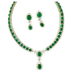 Vintage 125 ct Russian Emeralds and Diamonds Necklace & Earring Set, Circa 1960-70