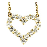 "1.15 ctw Diamond  Heart 14kt Yellow Gold Pendant on Link Chain, 16"" long"
