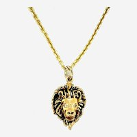 Lion's Head necklace in 14kt Yellow Gold with 0.08 ct Diamonds